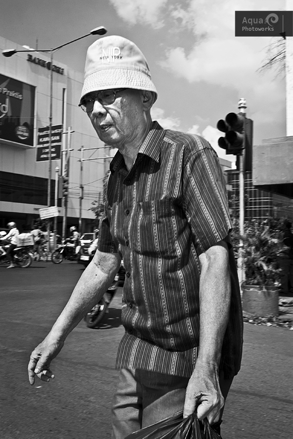 Old Man Crossing Road